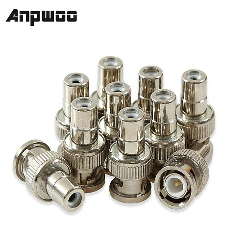 10pcs BNC Male Jack to RCA Female Plug Straight Convert Connector Adapter CCTV Security Camera Surveillance Video rca socket