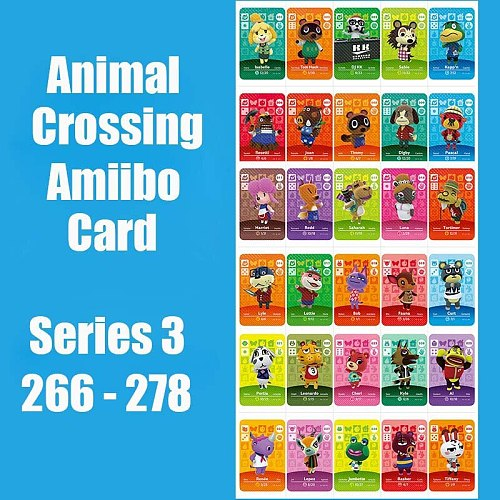 Series 3 (266 to 278) Animal Crossing Card Amiibo locks nfc Card Work for Switch 3DS NS Games Series 3 (266 to 278)