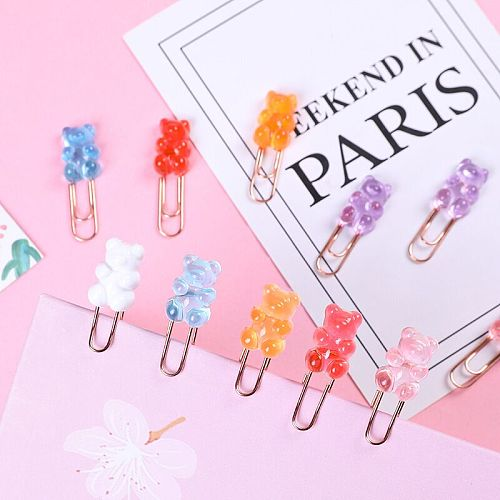 Sharkbang 10pcs/lot Kawaii Rainbow Bear Paper Clip Decorative Bookmark Binder File Clips School Office Stationery Accessories