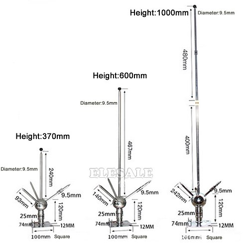 High Quality 100CM Three-Pole Brass Lighting Rod Detachable Lightning Protection Equipment For House Tower Tank