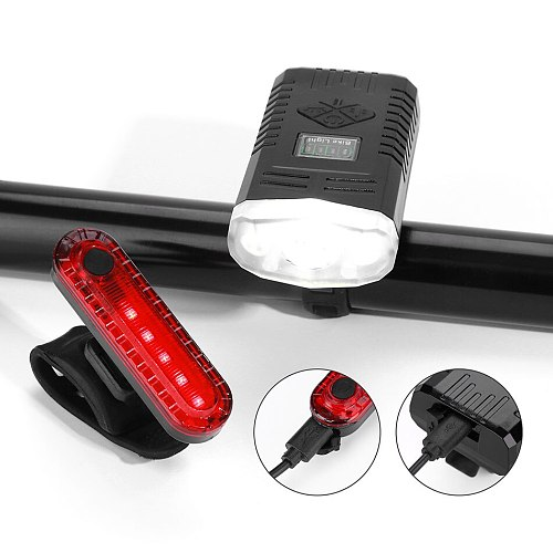 Waterproof LED Charging Cycling Headlight and Taillight Set 1000ml Bicycle Smart Auto Brake Sensing Light 9 Modes with 6 Alarms