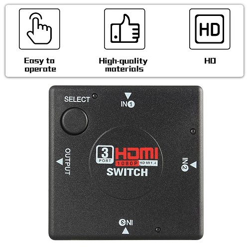 Mini 3 Switch High Definition 3 Port HDMI Switcher HDMI Splitter HDTV HD DVD 1080P Vedio Adaptor Suitable For PS3 Black