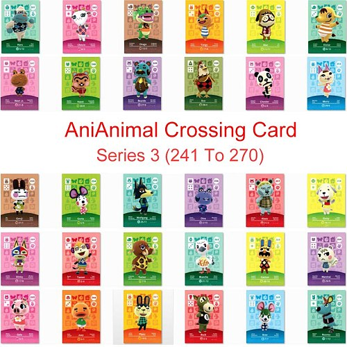 Series 3 (241 to 270) Animal Crossing Card Amiibo Card Work for NS 3DS Switch Game New Horizons Tangy Wolfgang Marshal Card