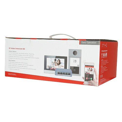 Hik Original multi-language 802.3af POE Video intercom KIT,include DS-KV8113-WME1 & DS-KH6320-WTE1 & PoE Switch , RFID Panel