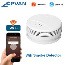 CPVan Smoke Detector WiFi Fire Alarm Tuya/Smart Life APP Fire Detector Smoke Sensor High Sensitivity Low Battery Reminder