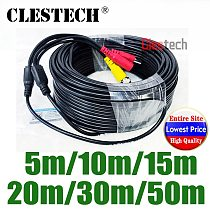 ALL Copper 5m 10m 15m 20m 25m 30m 50m Video+power HD Security Camera Wires Extension extension with BNC+DC 2in1 two in Cables
