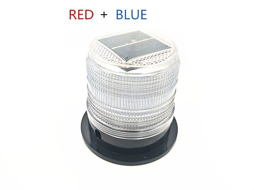 white colors BLUE RED LED Solar Warning Light car burst flash  traffic and road safety warning lights Marine Safety Beacon Light
