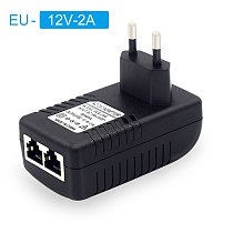 POE Injector AC220V  to DC12V 2A DC48V 0.5A POE Power Supply Over Ethernet Injector POE power Adapter EU/UK/US Optional