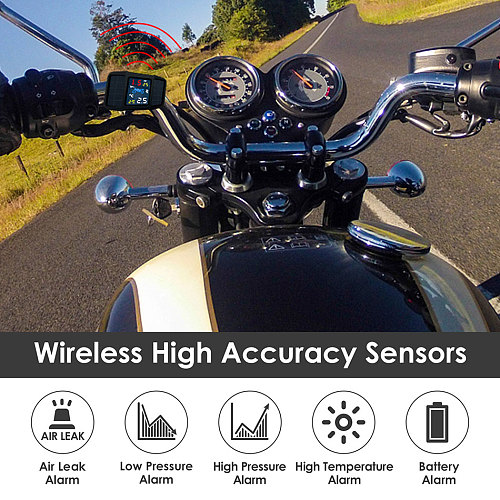 2020 New USB Solar Charging Motorcycle TPMS Motor Tire Pressure Tyre Temperature Monitoring Alarm System with 2 External Sensors