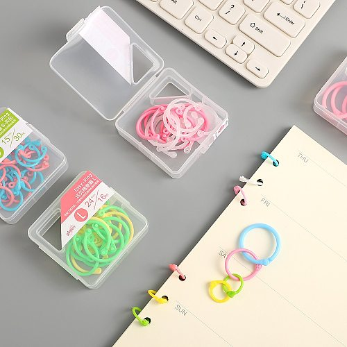 JIANWU 1set Macarons color series Loose-leaf ring binder ring Fashion business Office Office stationery