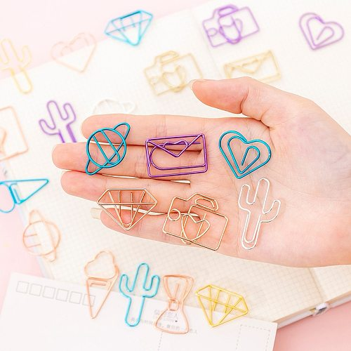 10 pcs/pack cute Cactus star Ice Cream Mini Paper Clips Kawaii Stationery Metal Clear Binder Clips Photos Tickets Notes Letter
