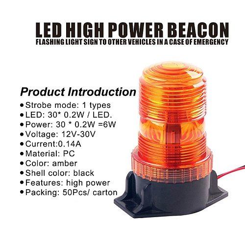 1Pcs 30LED 5730 Car LED Strobe Warning Amber Beacon Light 12V-36V For Tractor SUV School Bus