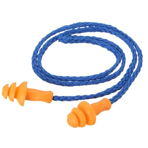 50Pcs Soft Silicone Corded Ear Plugs ears Protector Reusable Snore Sleep Hearing Protection Noise Reduction Earplugs Earmuff