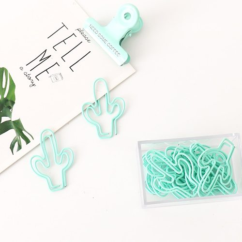 TUTU 20pcs/pack light green Cactus Paper Clip Metal Bookmarks Bookmark Tag Clip for Book Stationery Drop Shipping H0299
