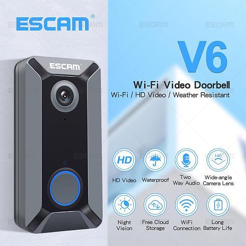 ESCAM V6 720P Wireless Doorbell Battery Video Camera Free Cloud Storage Waterproof Home security