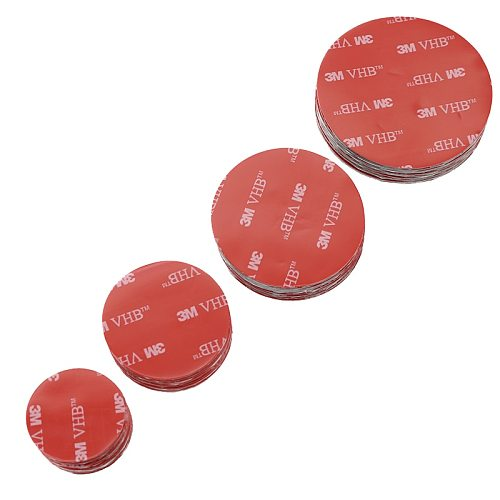 20pcs Red Round VHB Double-Sided Tape Strong Sticky Gray Plastic Stationery Waterproof Diameter 30/40/50/60mm X Thickness 0.8mm