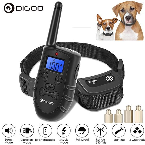 Digoo DG-PPT1 PPT1 Waterproof Rechargeable Receiver Dog Shock Training Pet Trainer With Remote Transmitter / Blue Backlit LCD