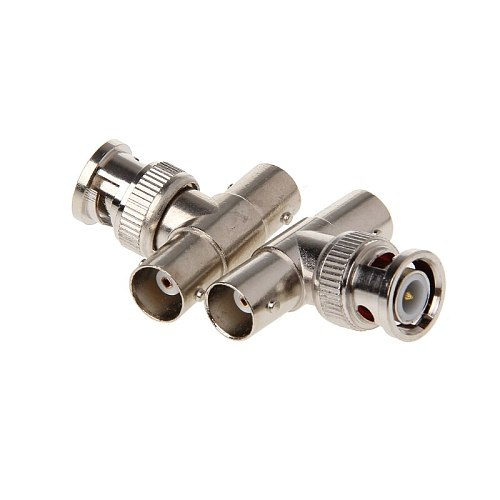 2Pcs BNC Male To 2 Female T Type Connector Adapter For CCTV Surveillance System