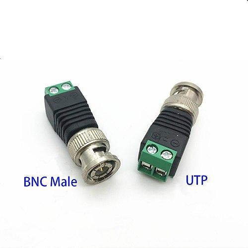ANPWOO 10pcs/lot BNC Male to UTP Mini Coax CAT5 To Camera CCTV  Video Balun Connector Adapter POE cctv tester IP camera FC