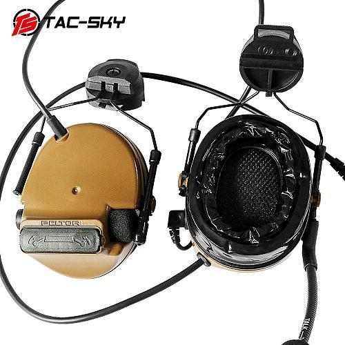TAC-SKY COMTAC III Helmet Bracket Silicone Headphones and Intercom PTT U94 PTT with Tactical Headphones Replacement Headband CB