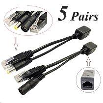 10pcs(5pair) POE Splitter POE Switch POE Cable adapter Tape Screened 5V 12V 24V 48V Power Supply Cable 5.5*2.1mm