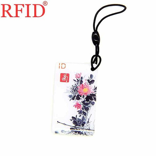 ID 125Khz EM4100 TK4100 Read Only Chinese Chrysanthemum Keychain RFID Key Fob Card Token Tag Access Control Card Fast Shipping 1