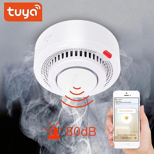 WiFi Smoke Alarm Fire Protection Smoke house Detector Home Security System Fire Devices Without battery Smartlife APP Control