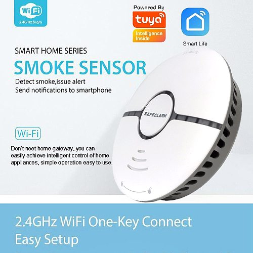 Smart life tuya smoke detector fire security system wifi sensor standalone wireless cigarette alarm compatible Alexa google