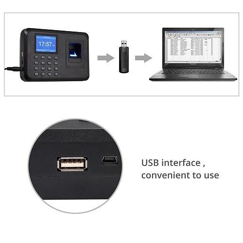 Neoteck Biometric Fingerprint Attendance Machine Employee Checking-in Recorder 2.4 inch Display USB DC 5V Time Attendance Clock