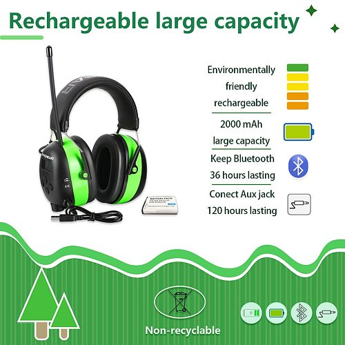 ZOHAN Electronic Ear Protection 2000mAh Lithium Battery NRR25db Bluetooth AM/FM Radio Shooting Ear Defenders Safety Ear Muffs