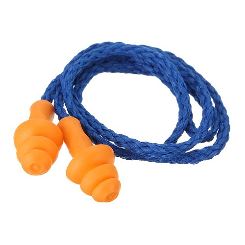 10Pcs Soft Silicone Corded Ear Plugs Swimming Ears Protector Reusable Hearing Protection Noise Reduction Earplugs Earmuff Sleep