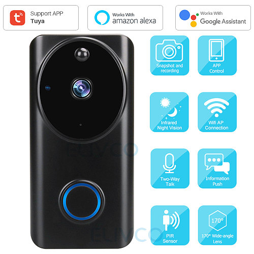 Video Doorbell Tuya 1080P WiFi Smart Video Intercom Door Bell IP Camera Home Security Monitor Compatible Alexa Google Assistant