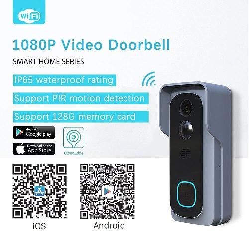 Video Doorbell WiFi 1080P Wireless Smart Video Intercom Door Bell IP Camera Home Security Monitor CloudEdge APP Remote Control