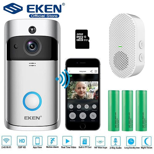 EKEN V5 Video Doorbell Smart Wireless WiFi Security Door Bell Visual Recording Home Monitor Night Vision Intercom door phone
