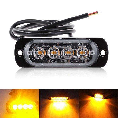 4 LED Strobe Warning Light Strobe Grill Flashing Breakdown Emergency Light Car Truck Beacon Lamp Amber Traffic Light