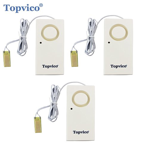 Topvico 3pcs Water Leak Detector Sensor Leakage Alarm Detection 120dB Alert Wireless Home Security Alarm System