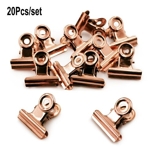 20PCS/Set 21mm*23mm Round Metal Grip Clips Bulldog Clip Ticket Paper Stationery Clip For Tags Bags Office Documents Binder Clip