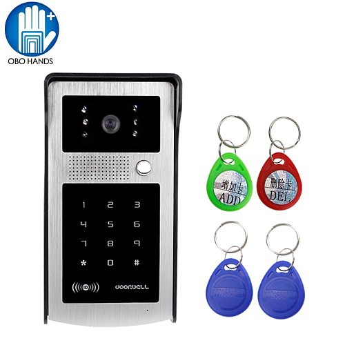 Wired Waterproof Video Door Phone Intercom System Outdoor Camera Unit LED Light Vision with Rain Proof Cover and RFID Keyfobs