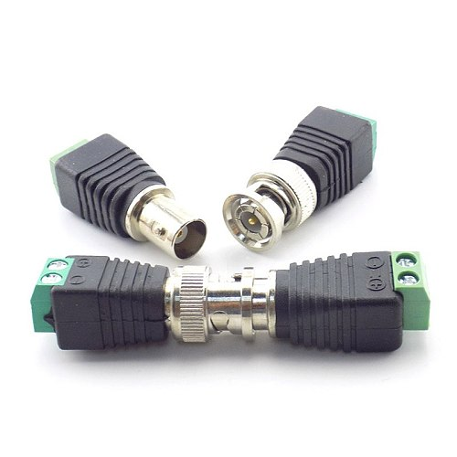 1 Pair BNC Connector Male Coax Cat5 to BNC Female Plug DC Adapter Balun Connector for CCTV Camera Accessories Led Strip Lights