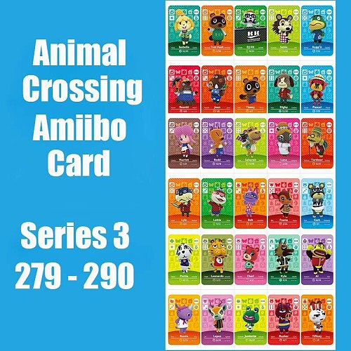 Series 3 #279-290 Animal Crossing Cards Amiibo Card Work for Switch NS 3DS Games New Leaf Animal Invite Cards