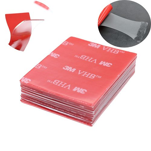10pc/3M Transparent Tape Rubber Foam Double-Sided Adhesive Strong Paste Red Transparent Bottom Office Stationery 40*50mm