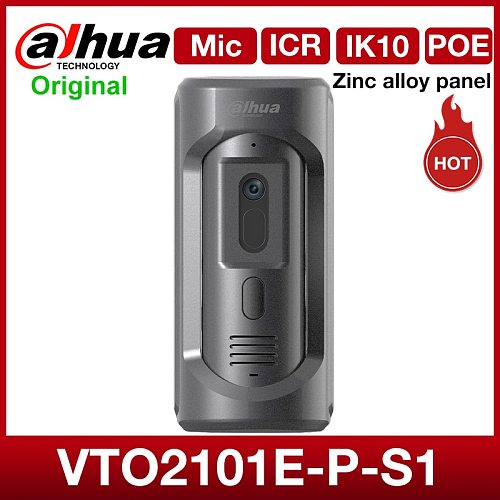 Dahua intercom VTO2101E-P-S1 2MP HD Video doorbell support Mic Built-in Speake Bidirectional talk Zinc alloy panel POE IK10 IP65