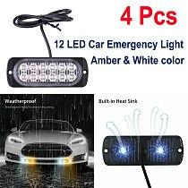4pcs 12-24V Car Truck  Warning Strobe Light 12 LED Emergency Strobe Light Bar Hazard Beacon Flashing Lamp