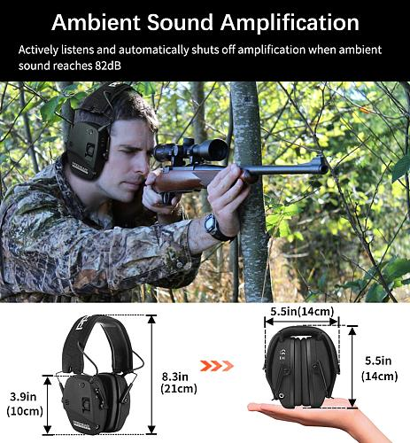 Electronic Bluetooth Shooting Ear Protection Sound Amplification Noise Reduction Ear Muff Professional for Hunting Ear Defender