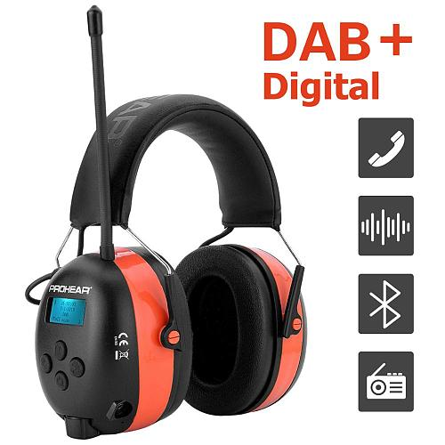 ZOHAN ear hearing protection with DAB+/DAB/FM Radio earmuffs Bluetooth Ear Protector 25dB Rechargeable lithium 2000mA Battery