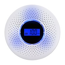ANPWOO 2 in 1 LCD Display Carbon Monoxide & Smoke Combo Detector Battery Operated CO Alarm with LED Light Flashing Sound Warning