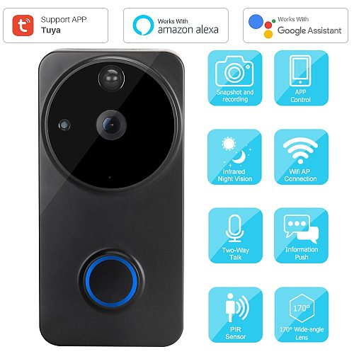 Smart Video Doorbell WiFi 1080P Video Intercom APP Control Phone Call Door Bell Camera Home Security Monitoring Works With Alexa