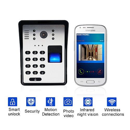 Wireless Video Door Phone Smart Wifi Video Doorbell RFID Password Door Phone Intercom Fingerprint Unlock IR Wireless Doorbell