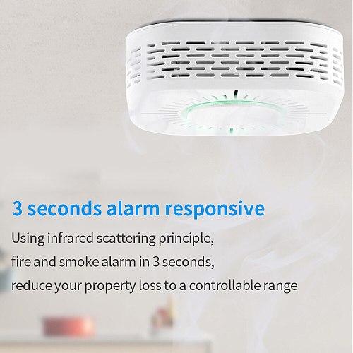 TISHRIC Wireless 433mhz Smart Smoke Detector Fire Smoke Alarm Sensor Cigarette Work with SONOFF Bridge Home Automation Security