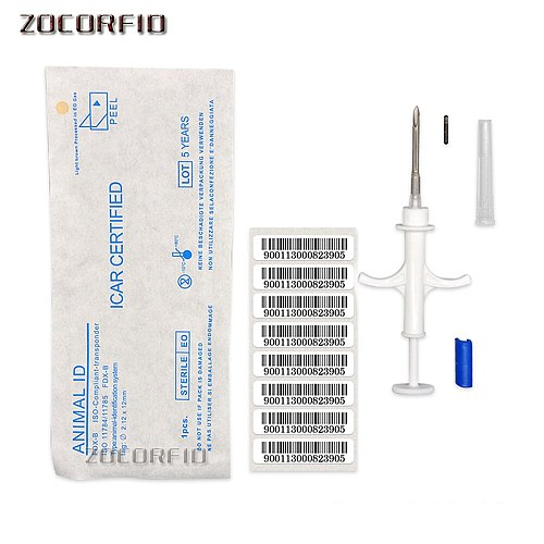 10pcs/lot ISO11784 FDX-B cat dog microchip animal syringe ID implant pet chip needle vet RFID injector PIT tag for dog cat fish